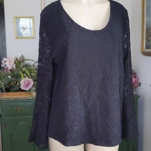 Talbots (XL) Floral Sunflower Bell Sleeve Lace Top
